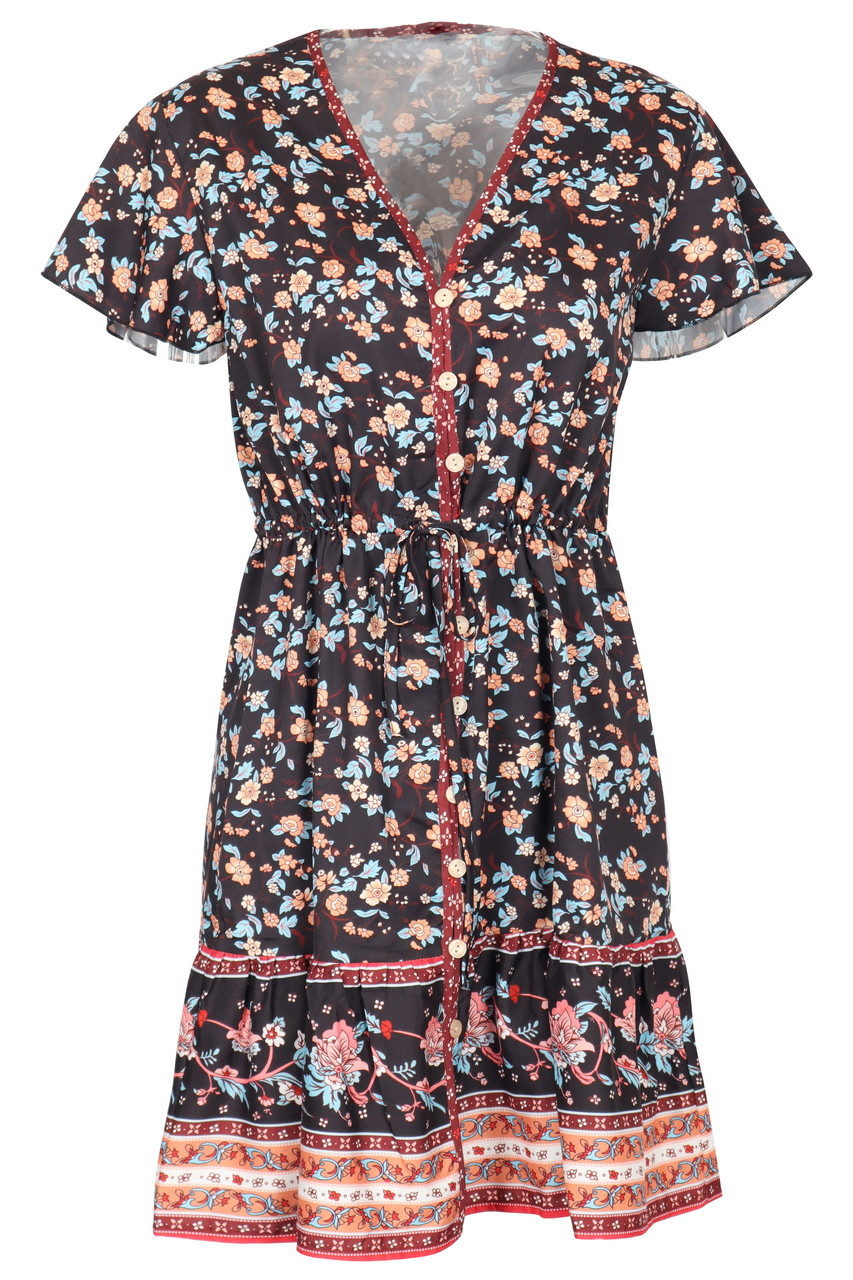 Casual Boho print front button mini dress