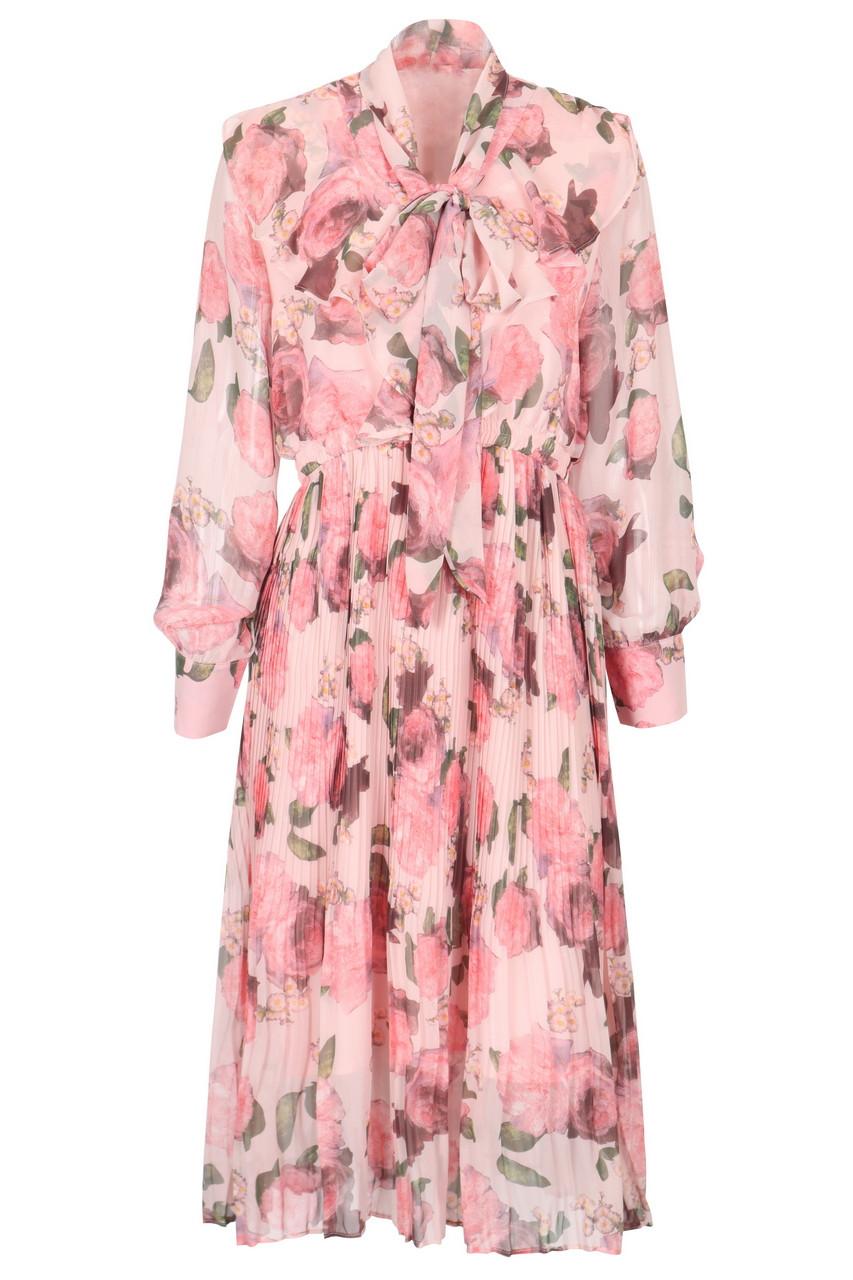 Floral bowtie chiffon midi dress