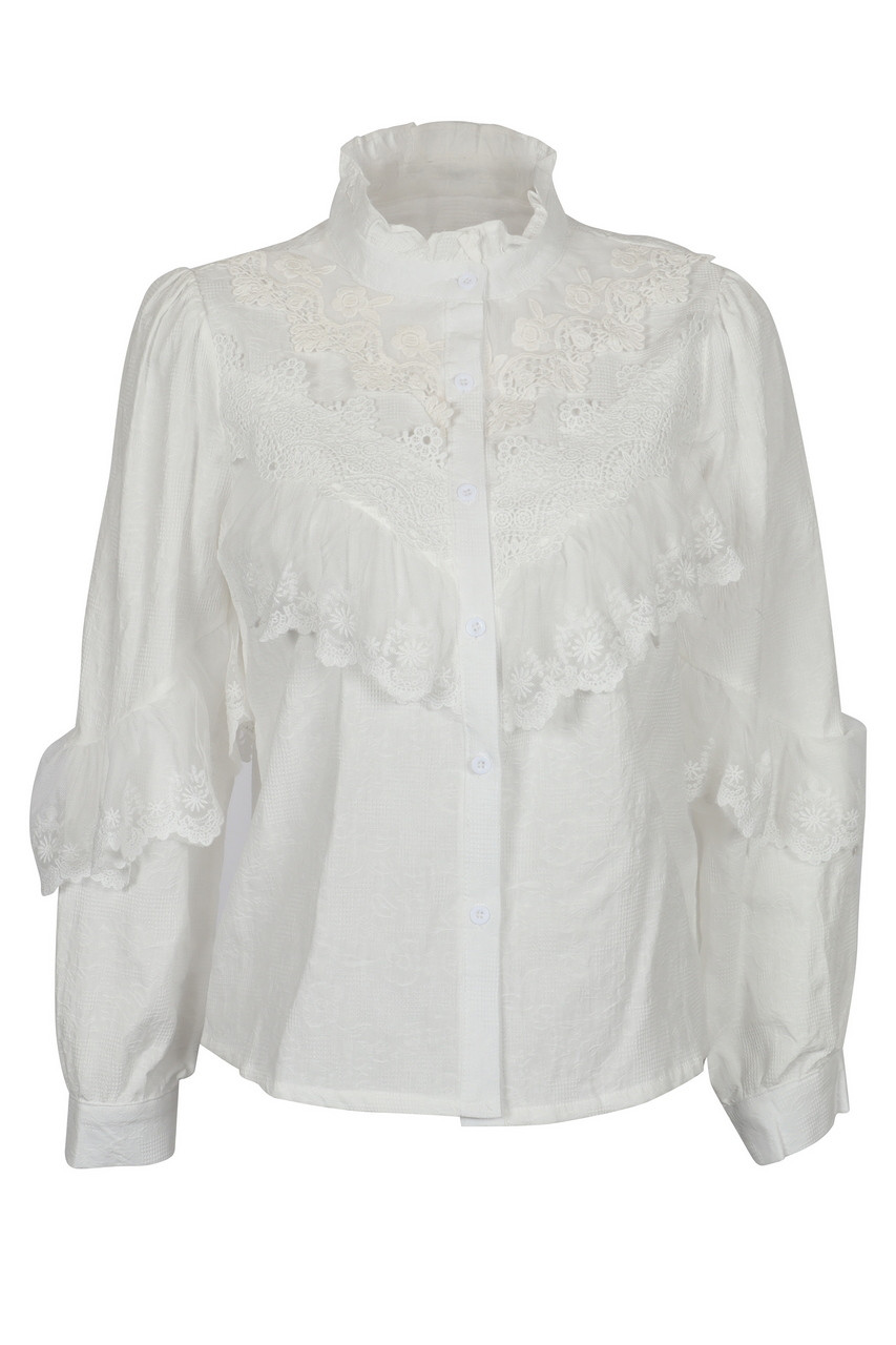 Lace ruffle high neck blouse