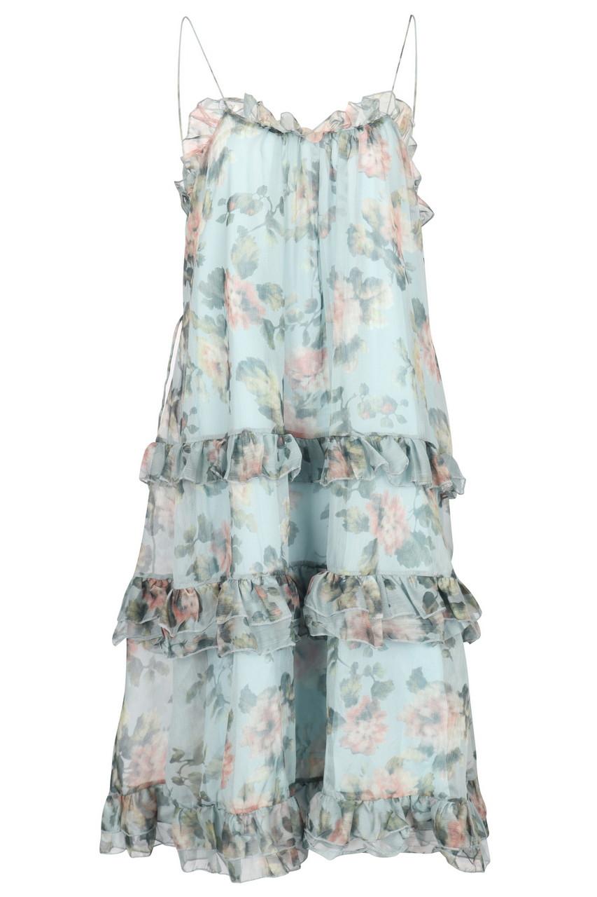 Floral chiffon tiered midi dress