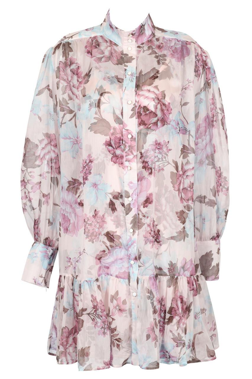 Volume sleeve floral mini dress