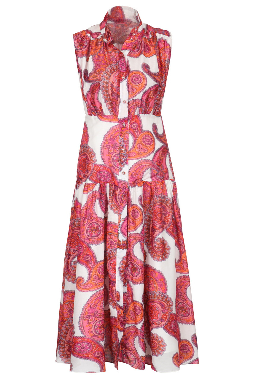 Casual Boho print high neck tiered midi dress