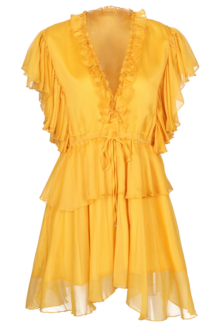 Deep v-neck chiffon frilled mini dress
