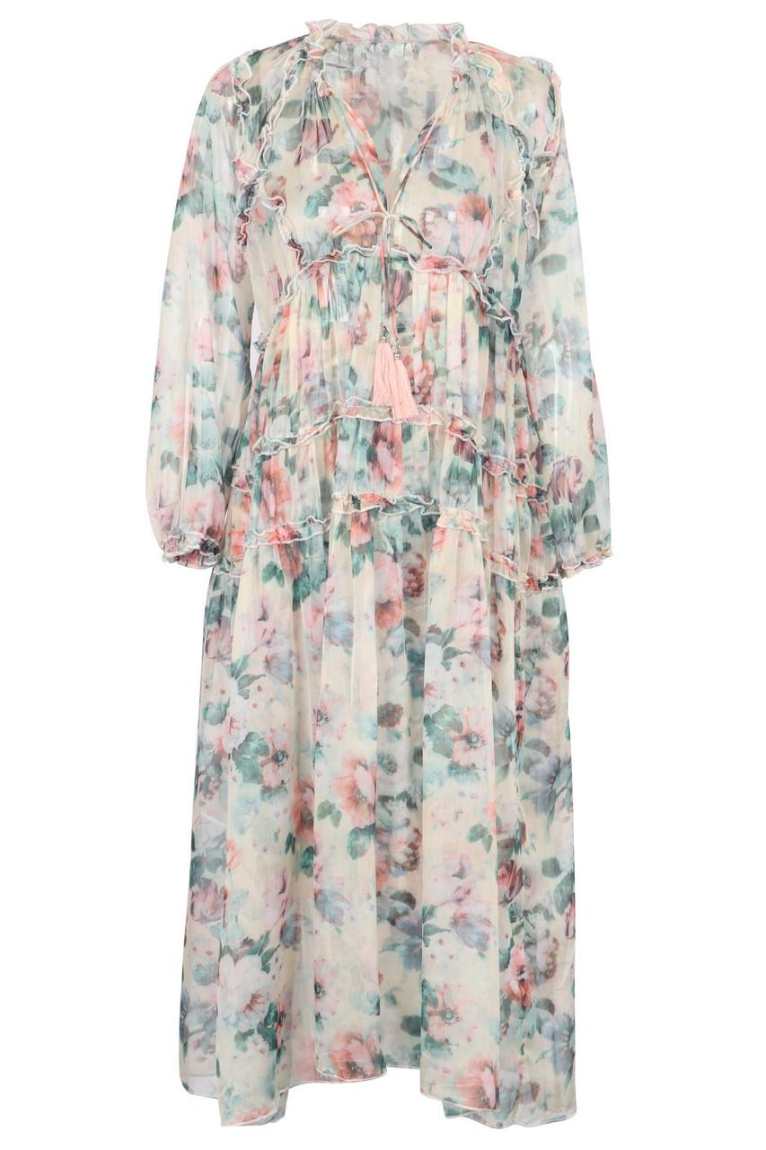 Floral chiffon tiered frill midi dress