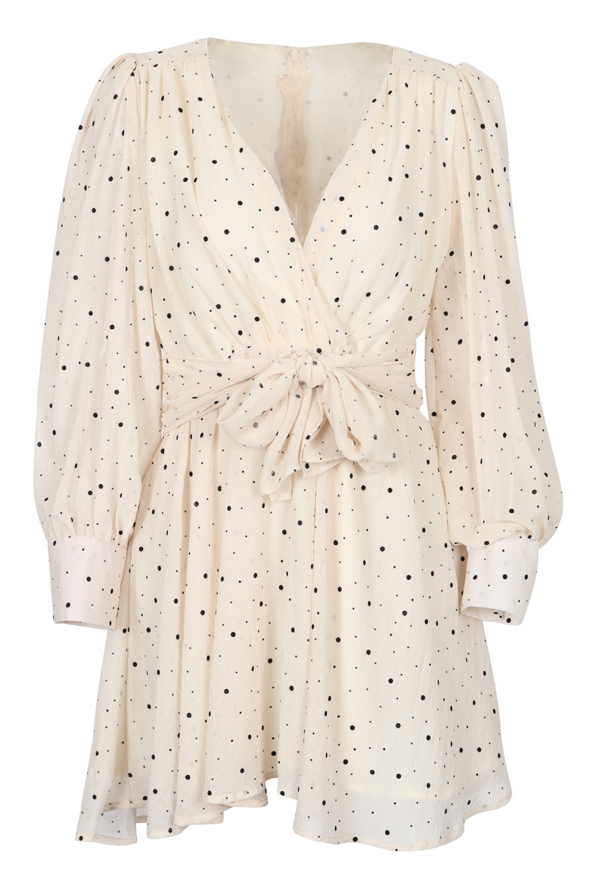 Dot Print Cease Chiffon Dressy Mini Dress