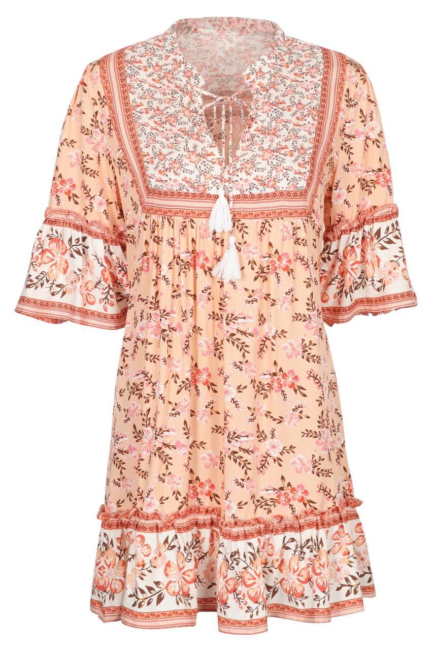 Boho Print Hem Frill Mini Dress