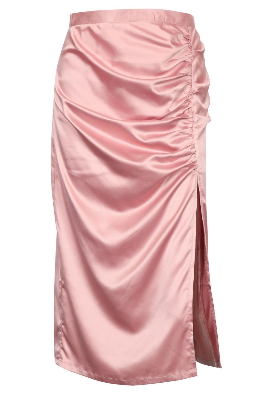 Pink Satin Side Shirring Midi Skirt