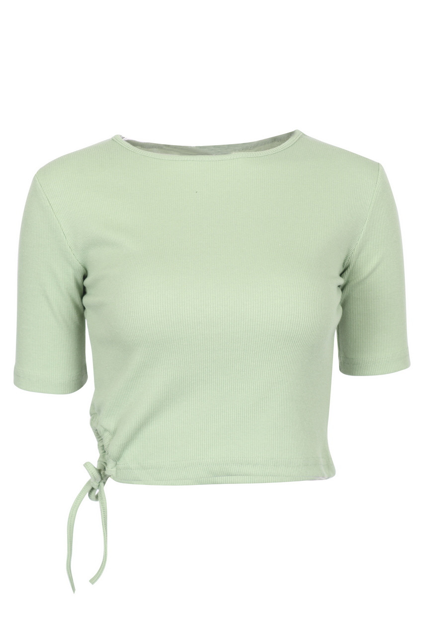 Rib Jersey Side String stretchable Crop Top