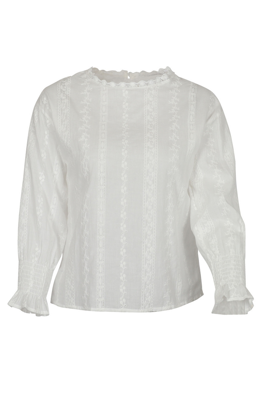 Embroiderd Cotton Round neck Peasant Top