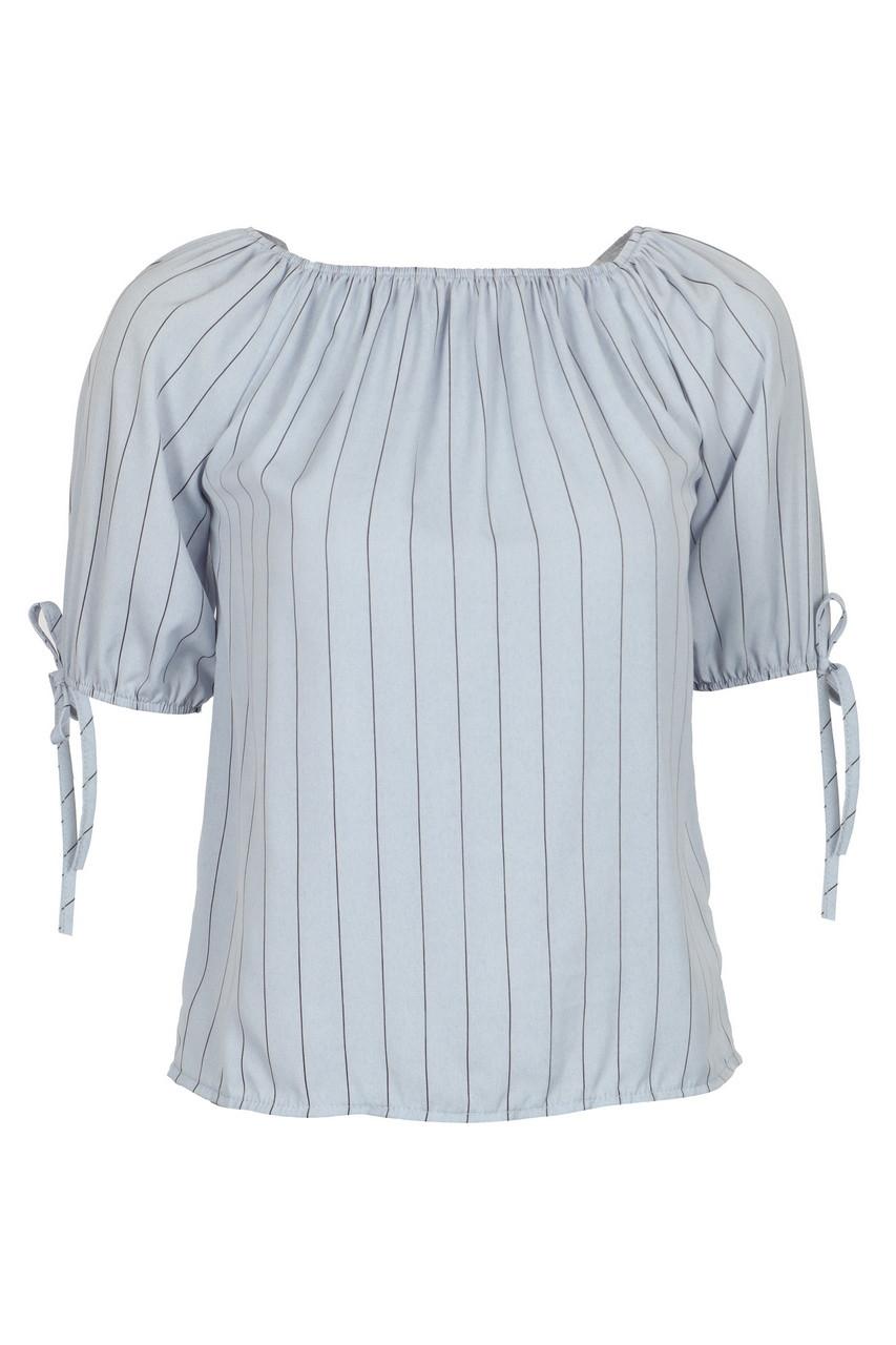 Stripe Cuff Strap Half Sleeve Crop Top