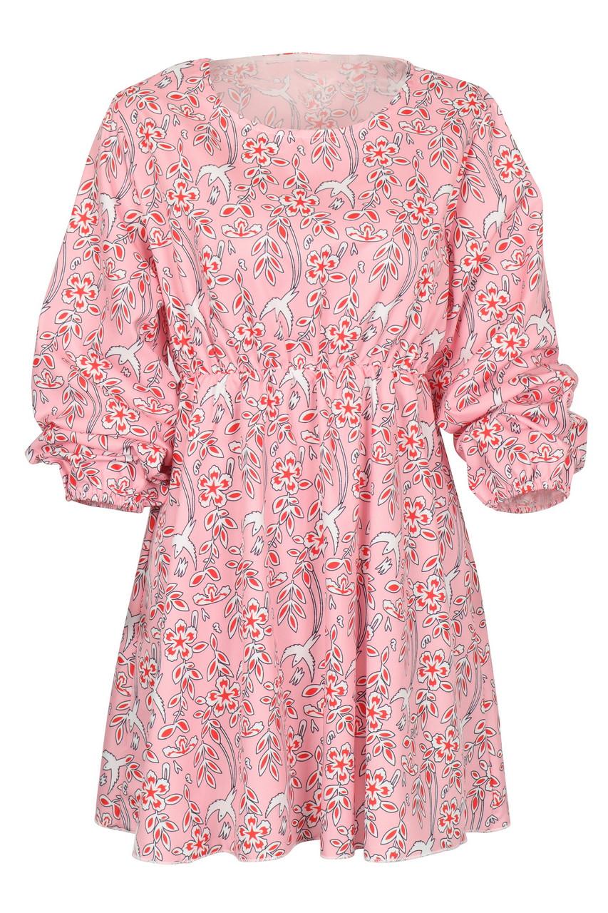 Print Volume Sleeve Waist Strap Mini Dress