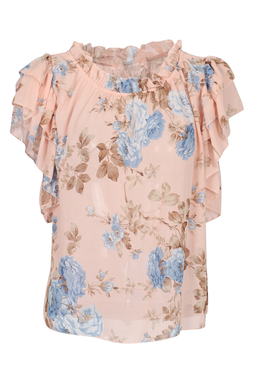 Floral Print Frilled Short Sleeve Chiffon Top