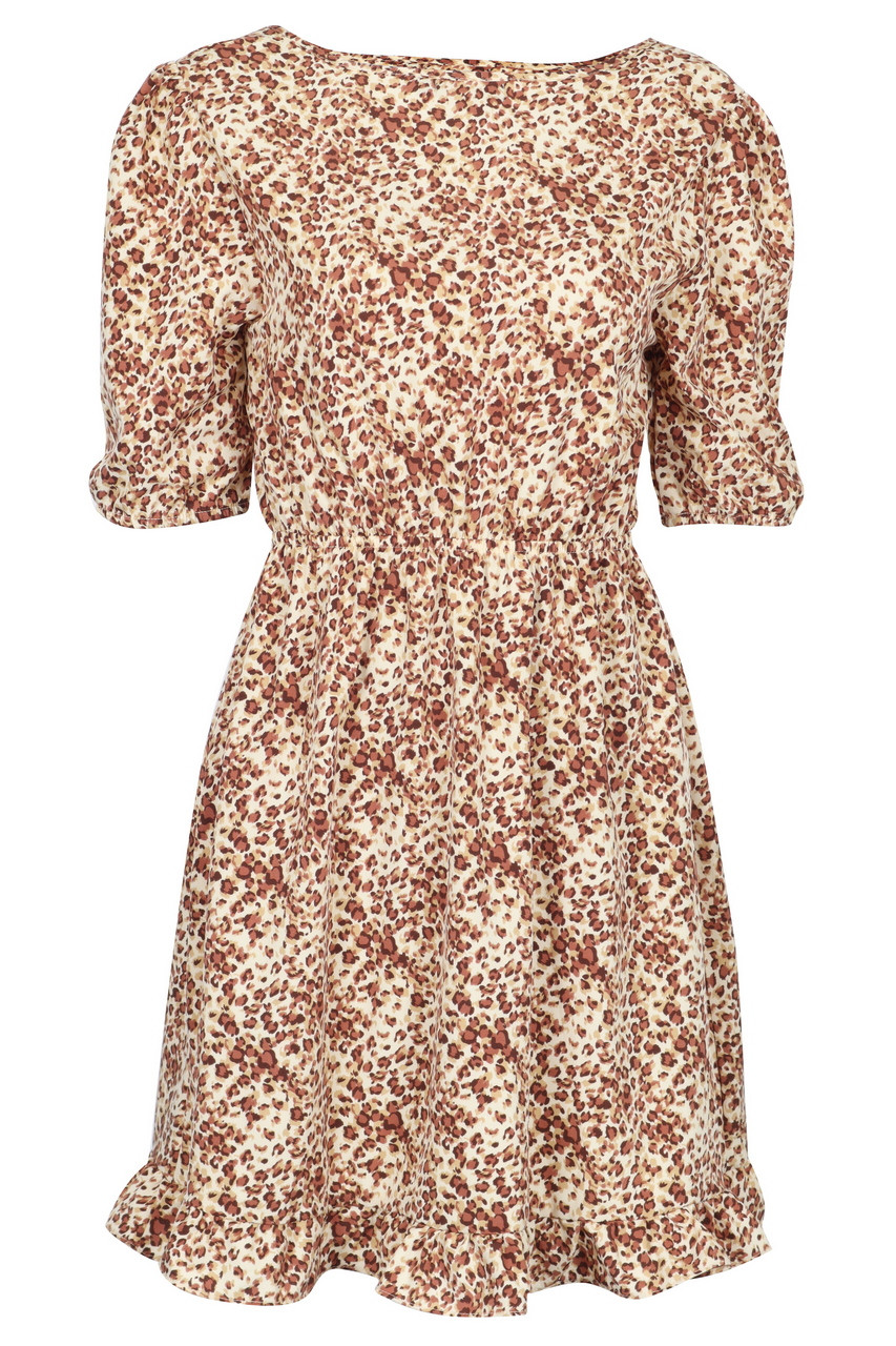 Leopard Print Back Tie Half Sleeve Knee Length Dress