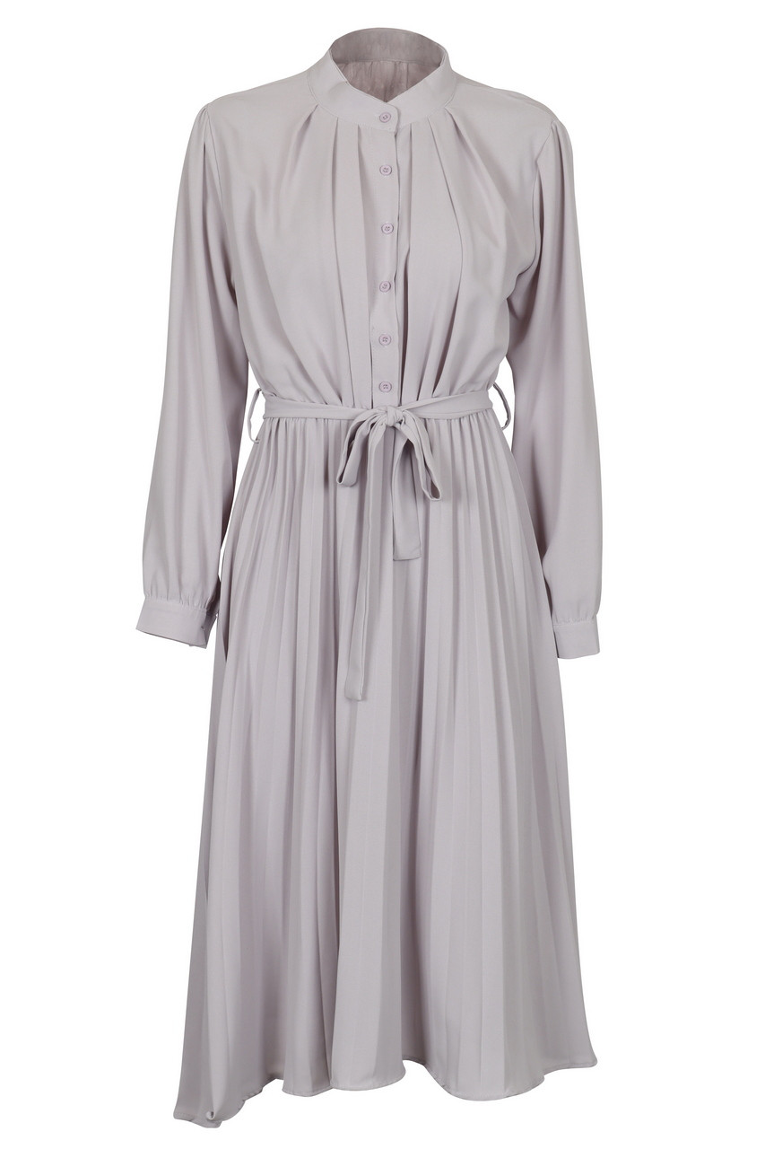 Front Button Pleated Long Sleeve Midi Dress