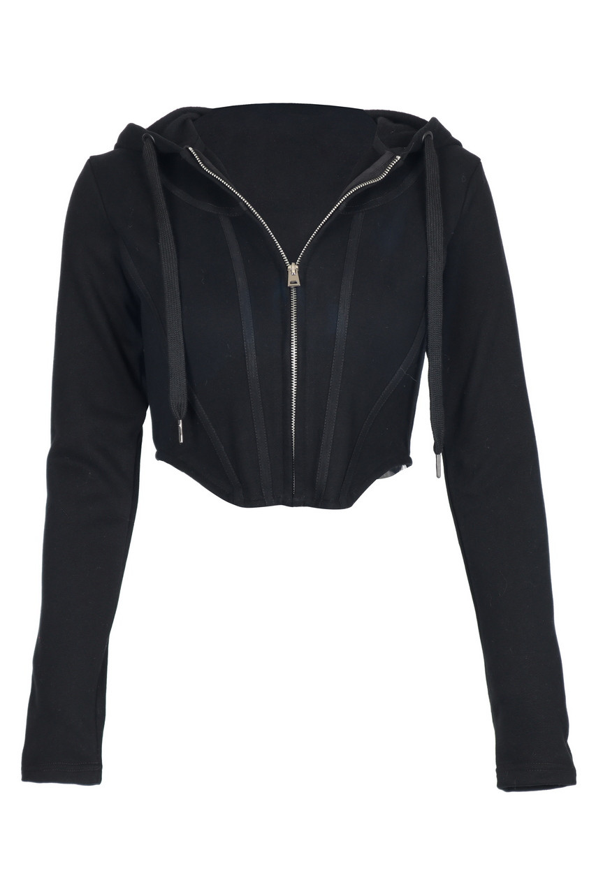 Black Hoodie Fitted Crop Zip-up Jacket