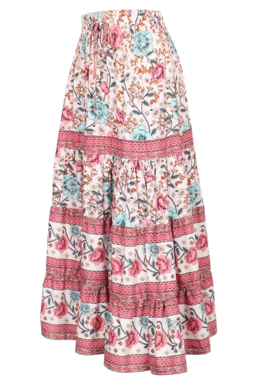 Boho Print Tiered Elastic Waist Maxi Skirt