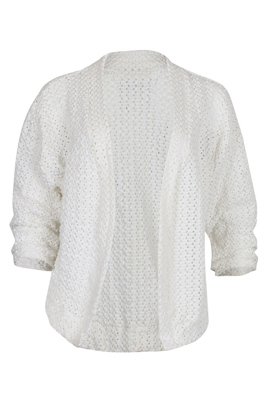 Drop Shoulder Knitted Lace Fabric Cardigan