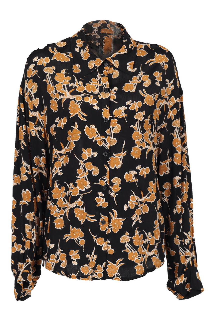 Floral Print Drop Shoulder Long Shirt