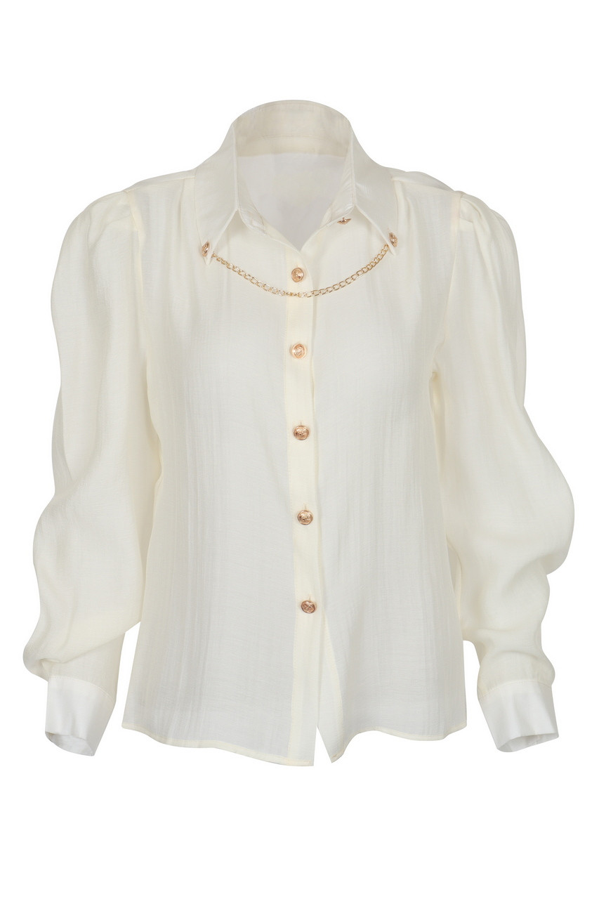 Gold Chain Deco Puff Long Sleeve Blouse