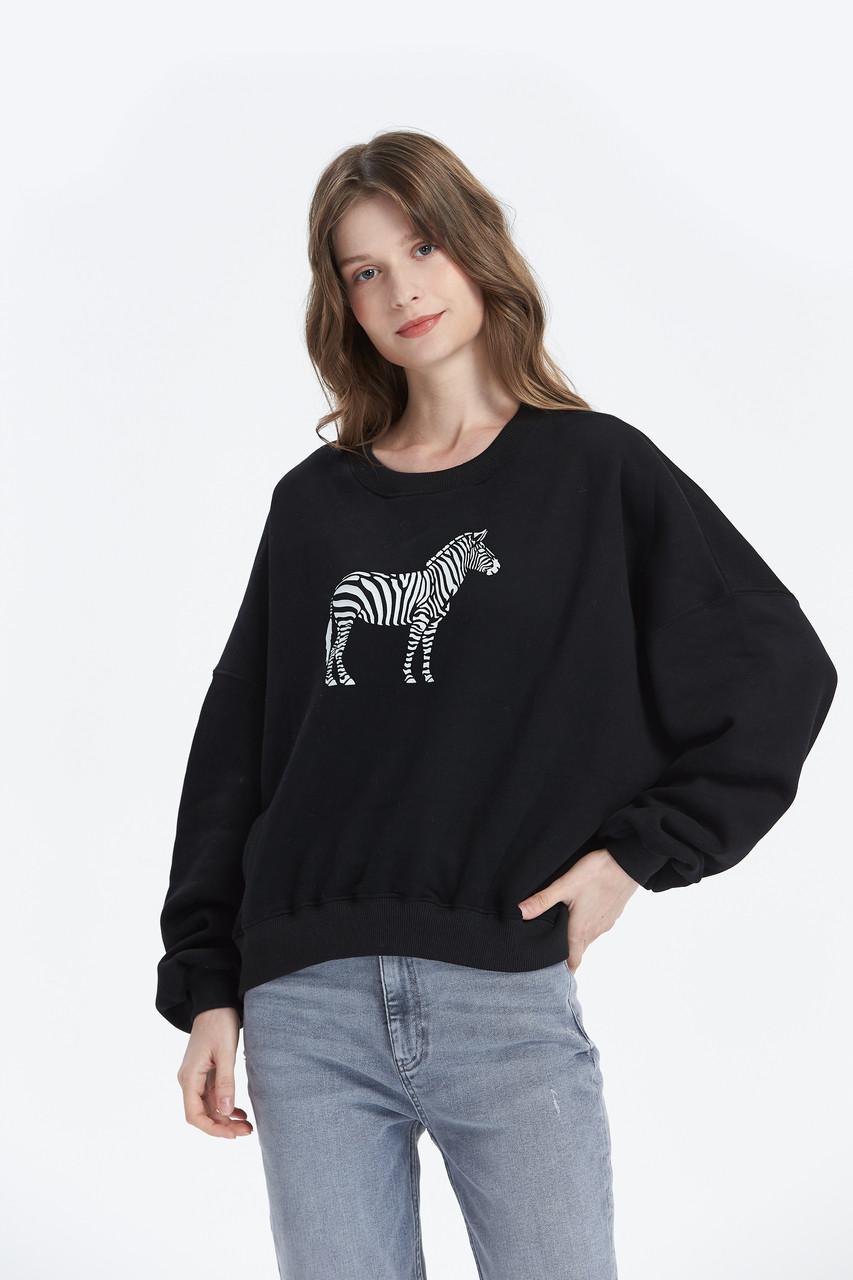 Horse Print Loose Fit Fleece Sweat Top