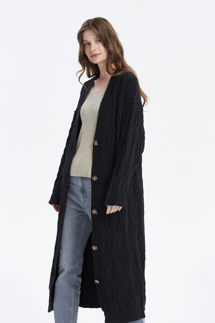 Cozy Loose Fit Cable Knitted Knit Cardigan