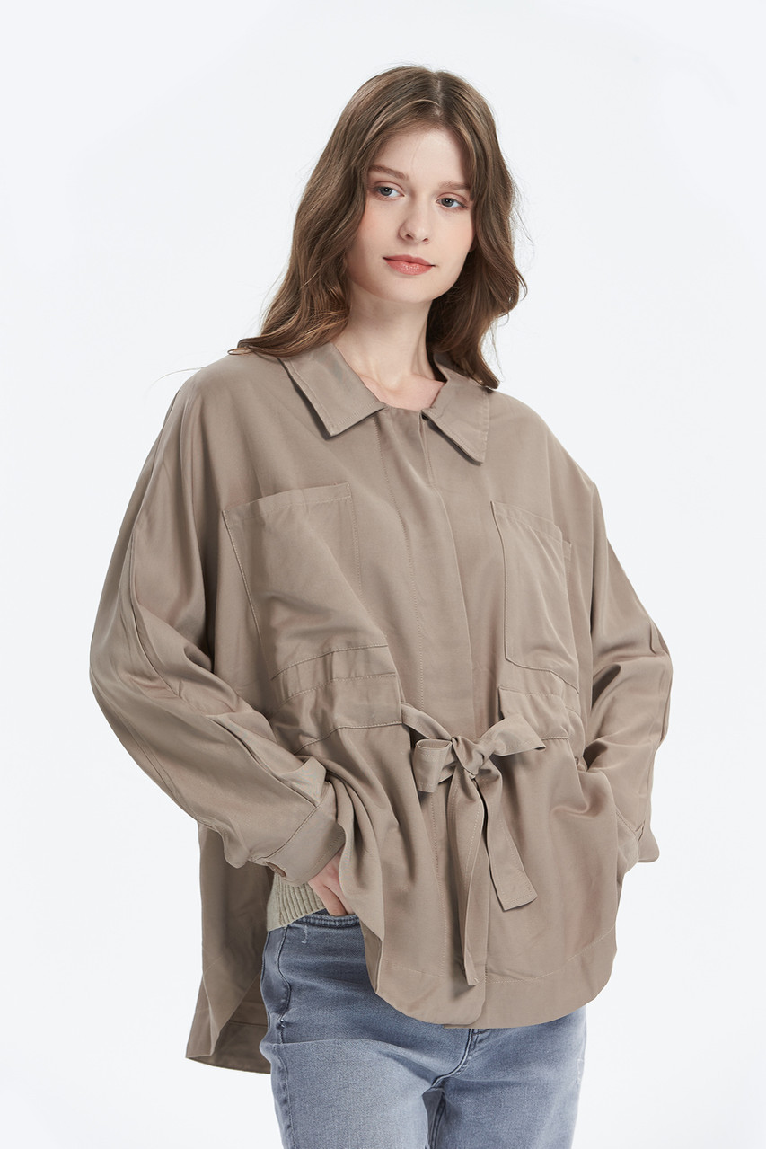 Hidden Placket Loose Fit Waist Strap Jacket