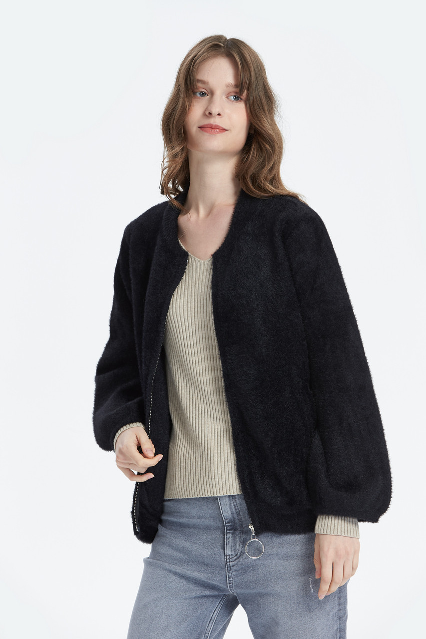 Fluffy Fabric Zip up Front Crop Jacket