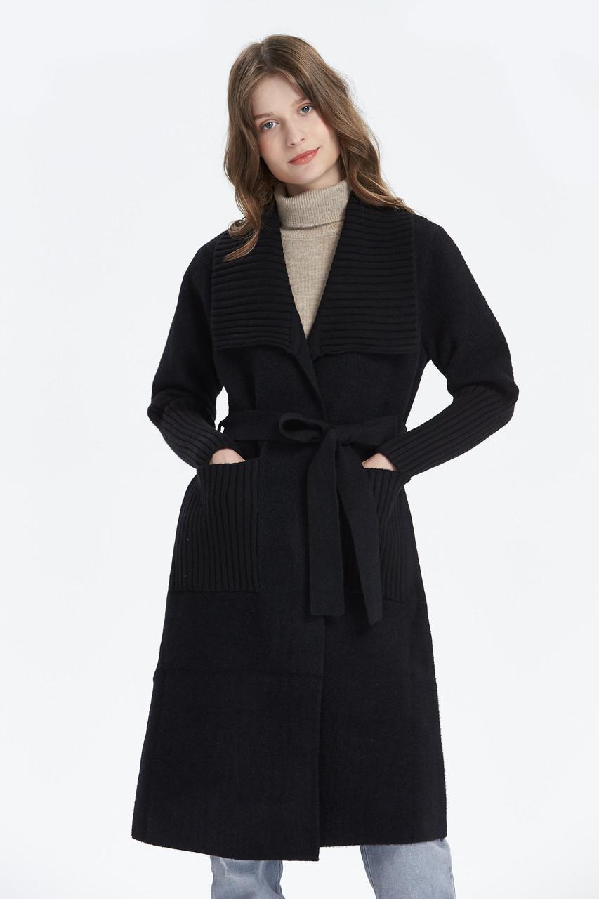 Big Collar Long Knit Cardigan