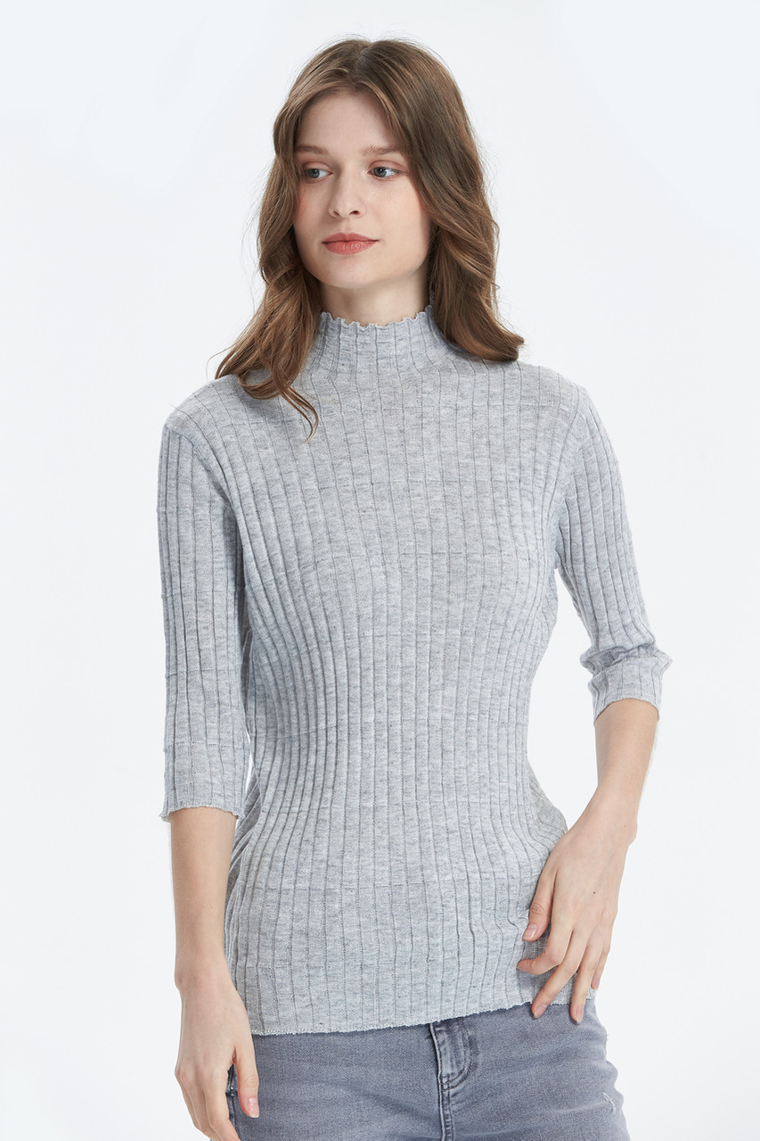 Fitted Rib 3/4 Sleeve Knit Top