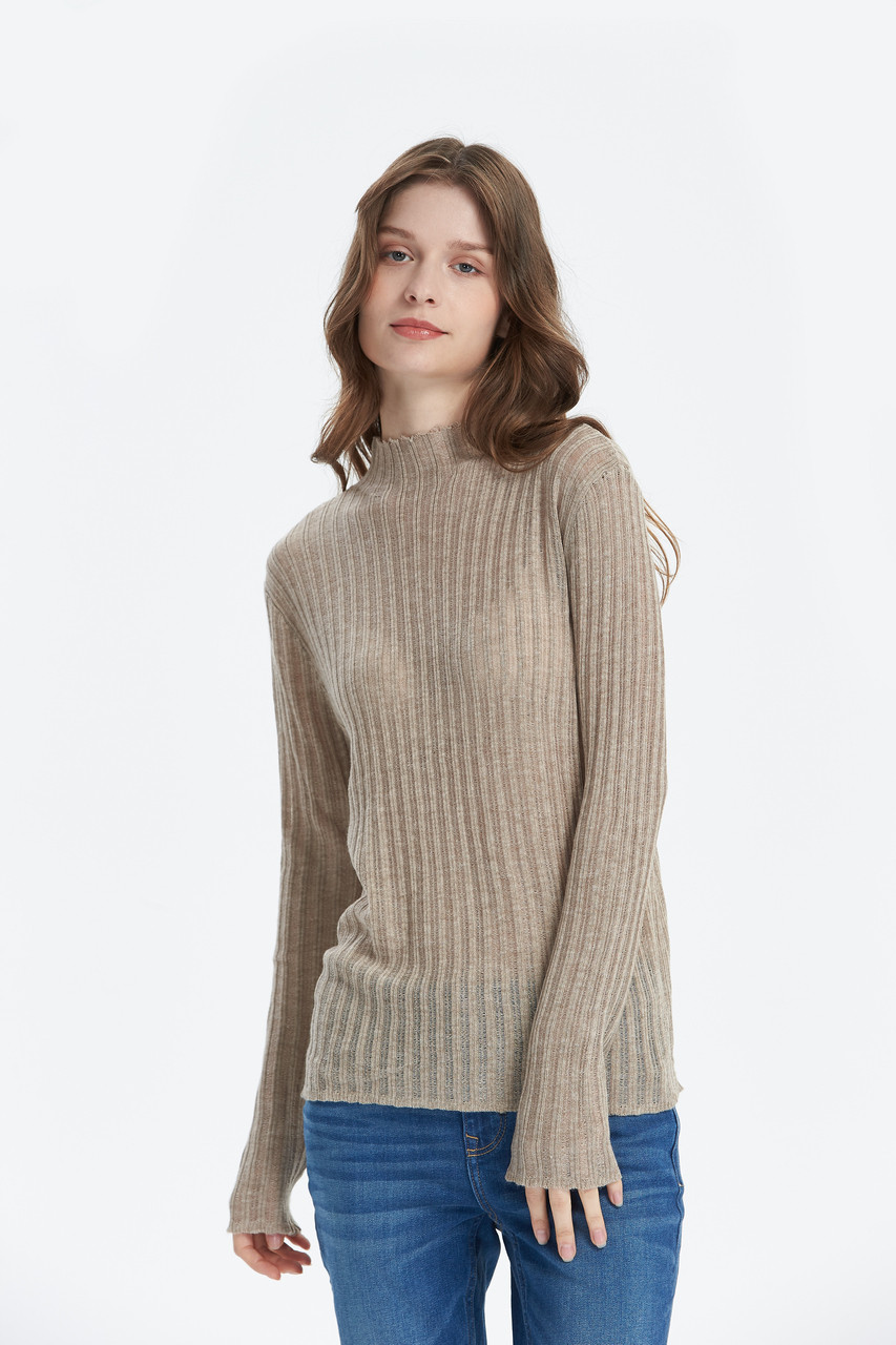 Fitted High neck Ribbed Knit top