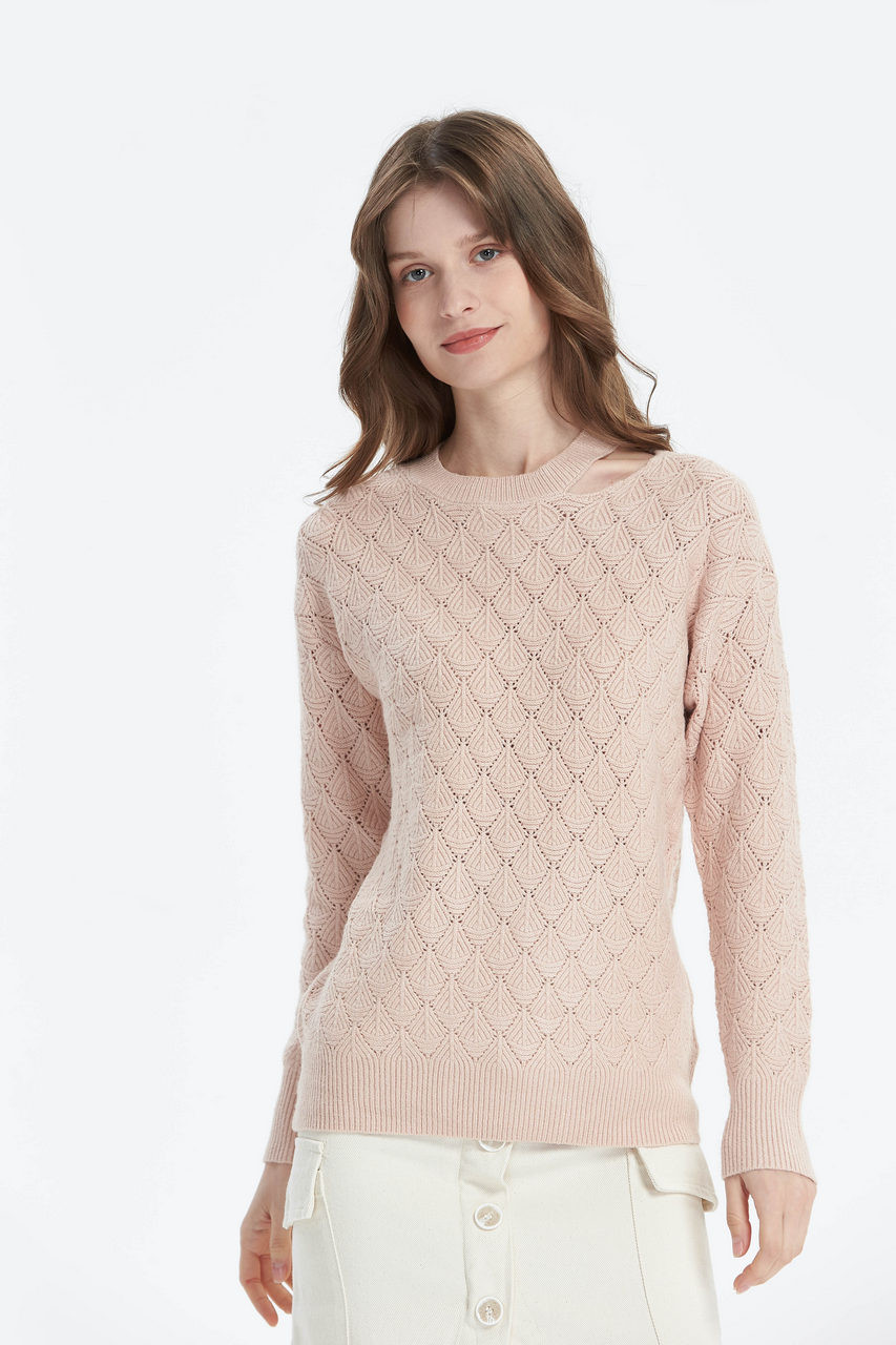 Pointelle Knitted Tiered Neck Line Knit Top