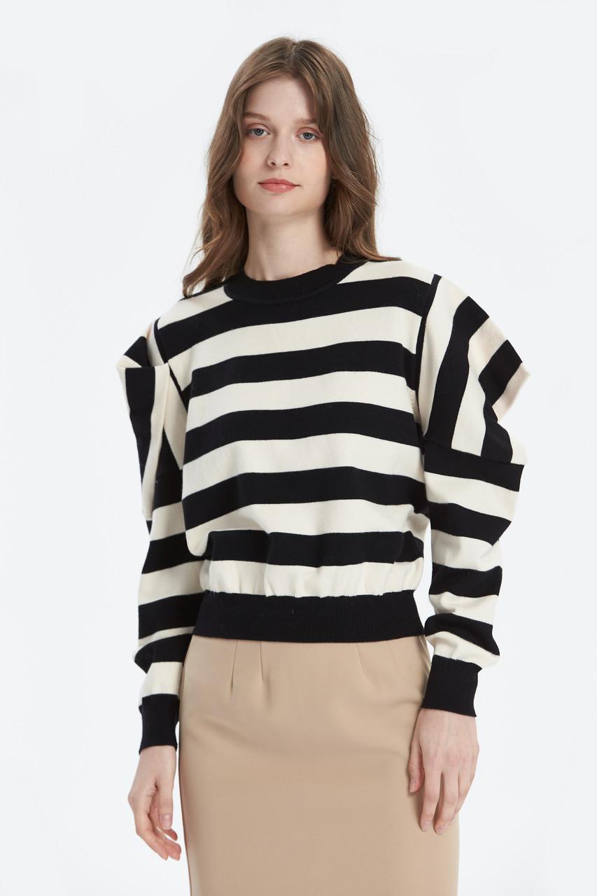 Volume Shoulder Bold Stripe Top