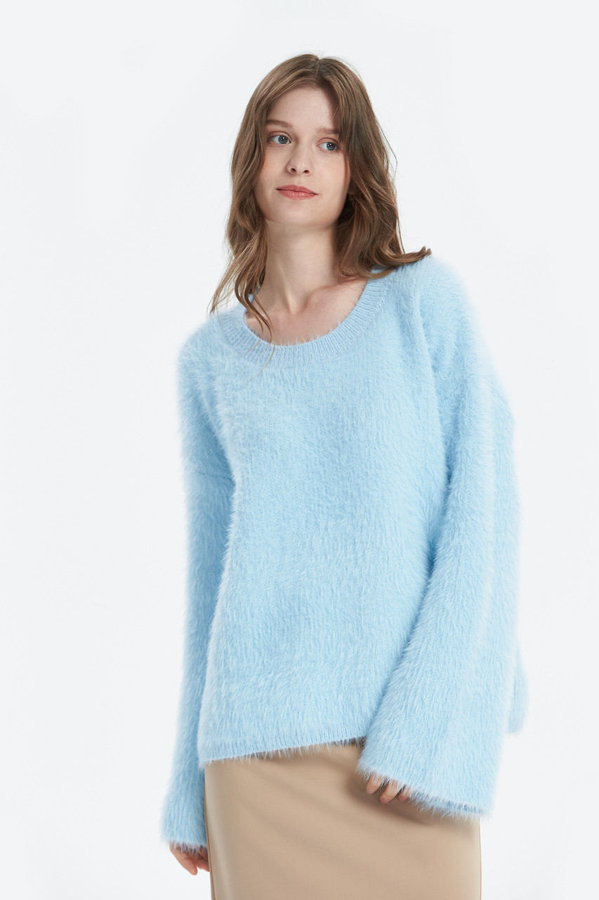 Fluffy Yarn Wide Cuff Knit Top