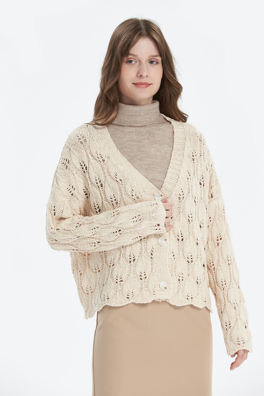 Pointelle V Neck Knit Cardigan