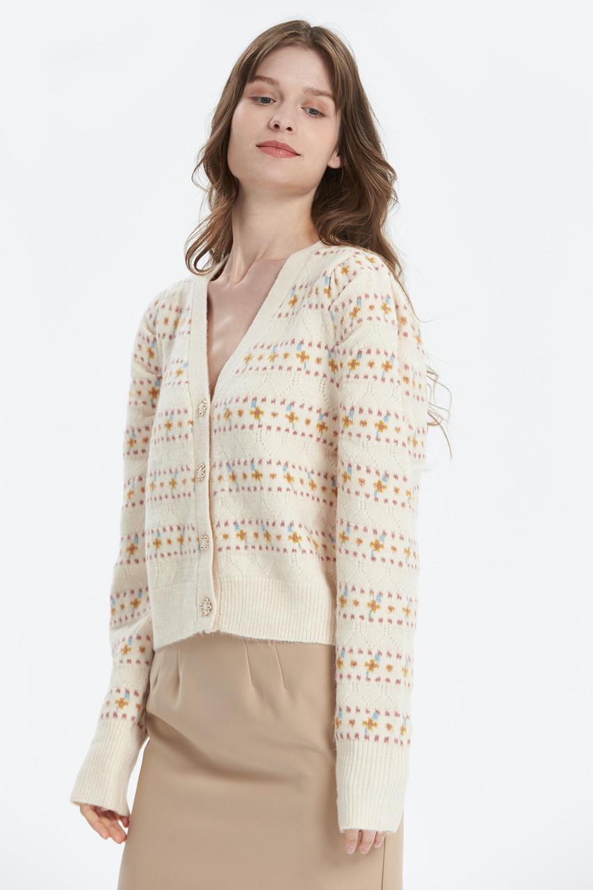 Cute Pattern Knitted Crop Knit Cardigan