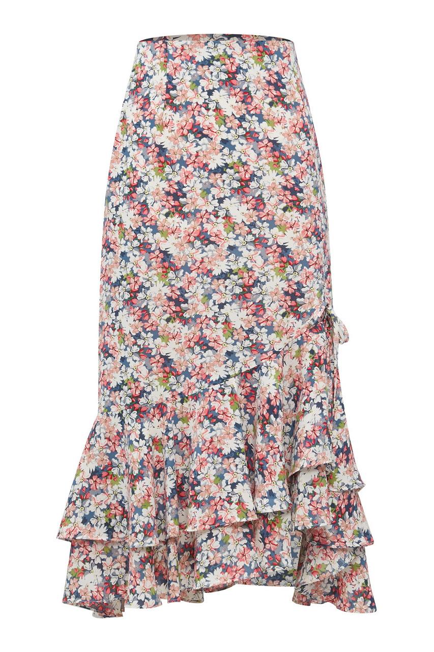 Floral Print Hem Frill Midi Skirt