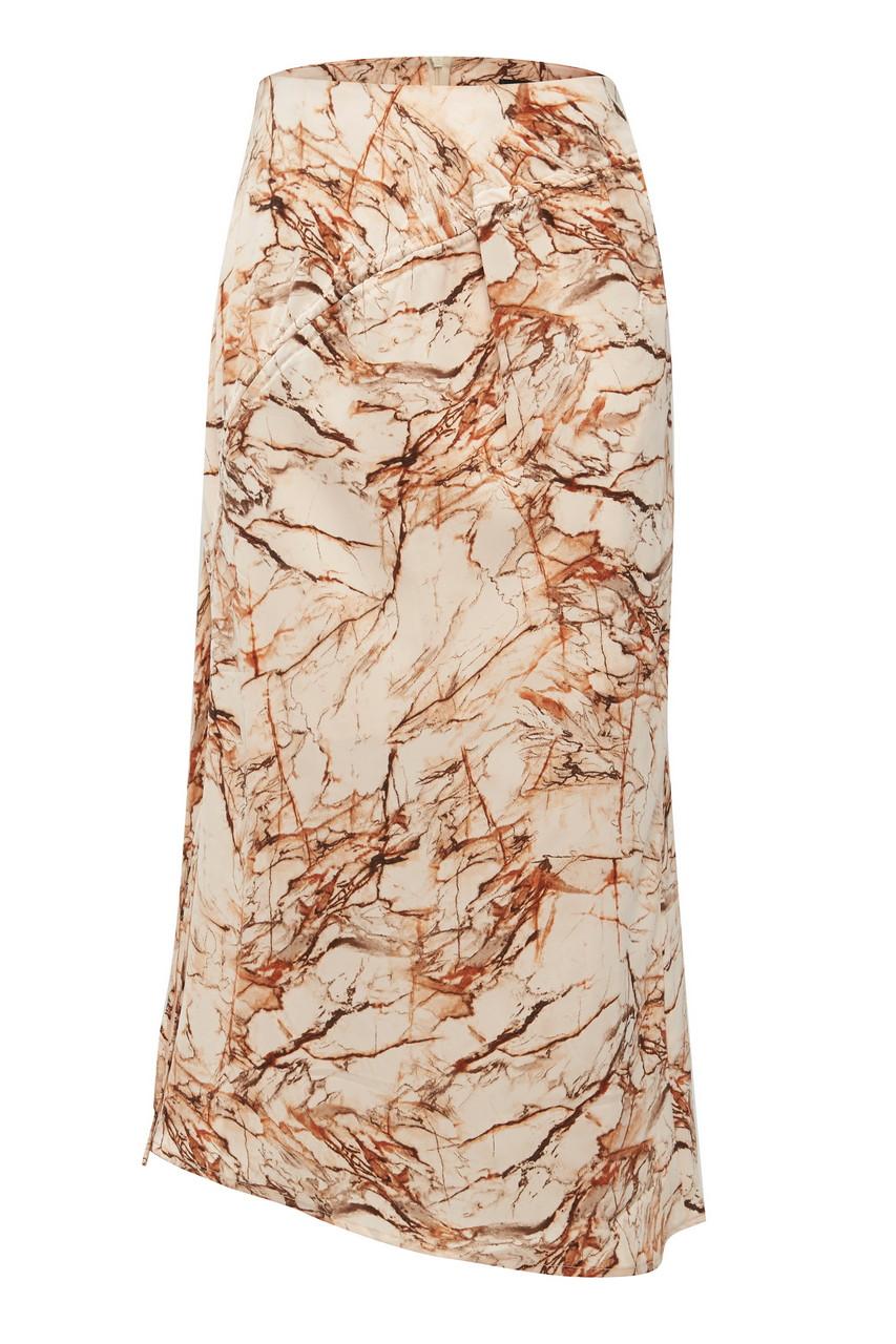 Marble Print String Midi Skirt