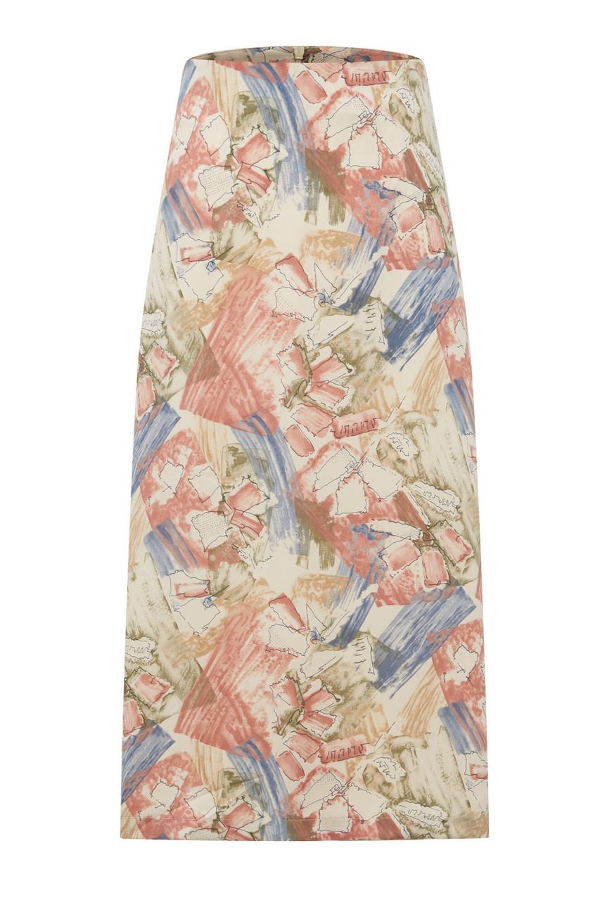 Abstract Print H-line Midi Skirt