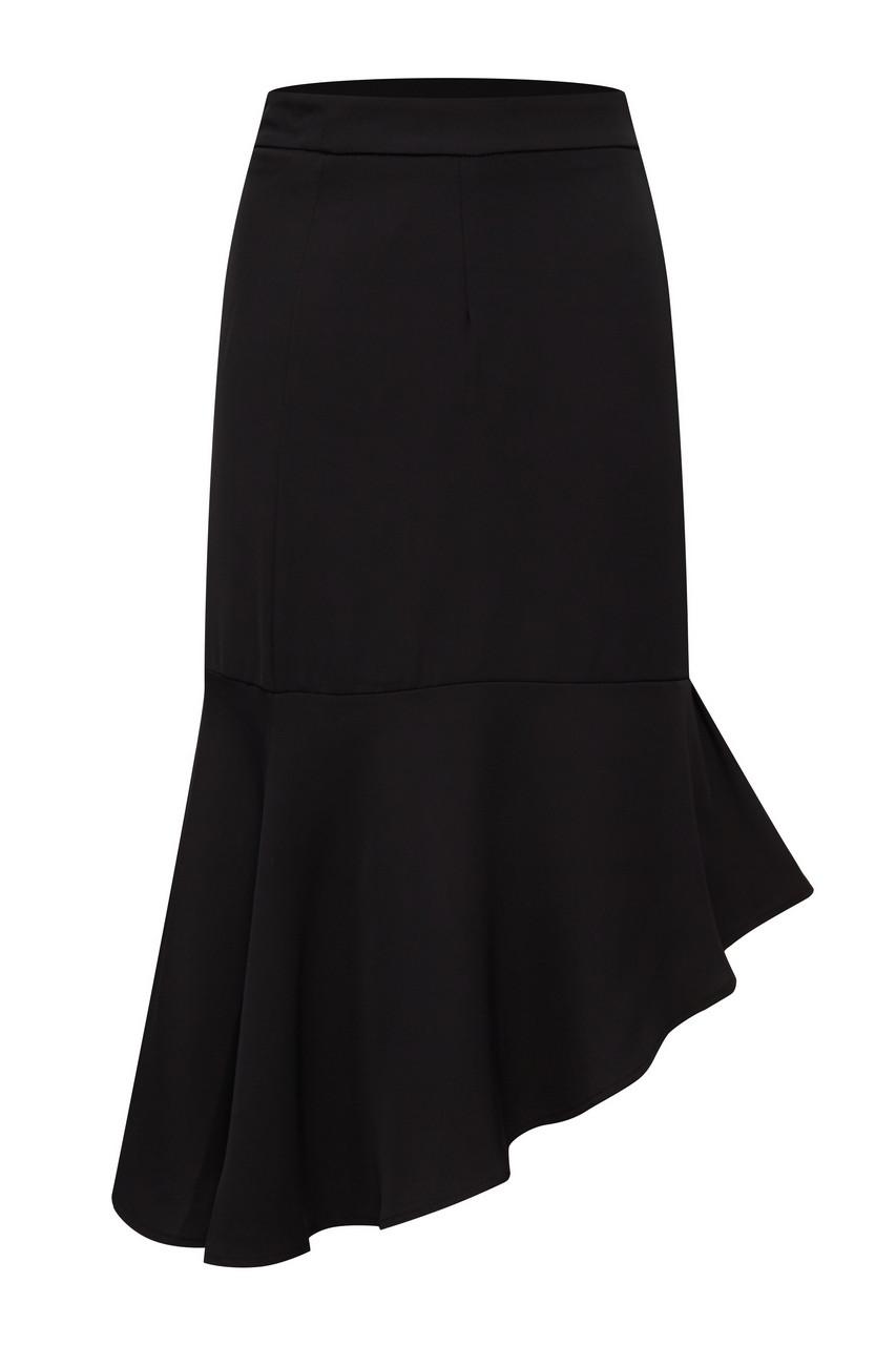 A-line Hem Frill Side Slit Midi Skirt