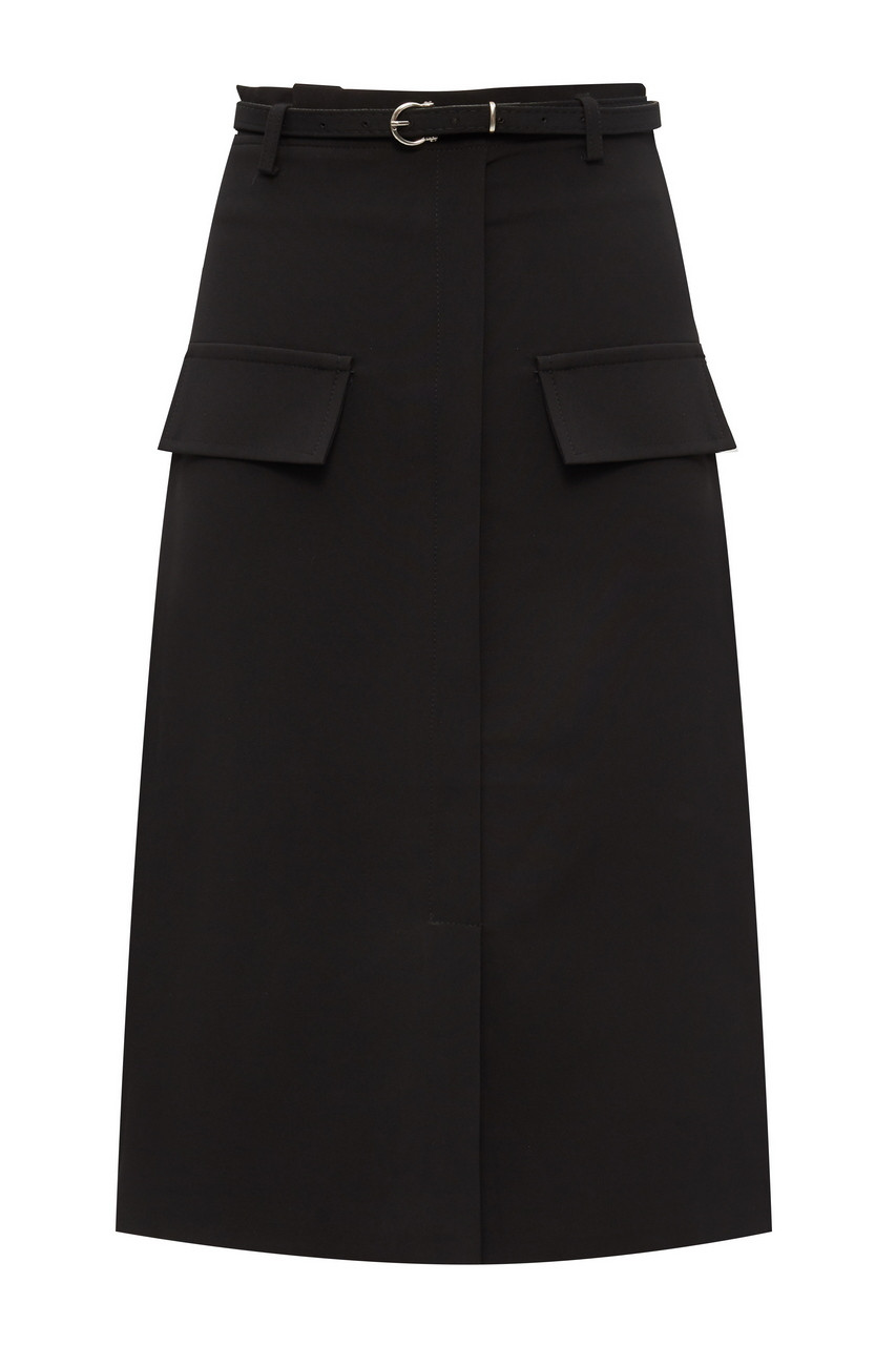 Belted Front Slit Midi Skirt