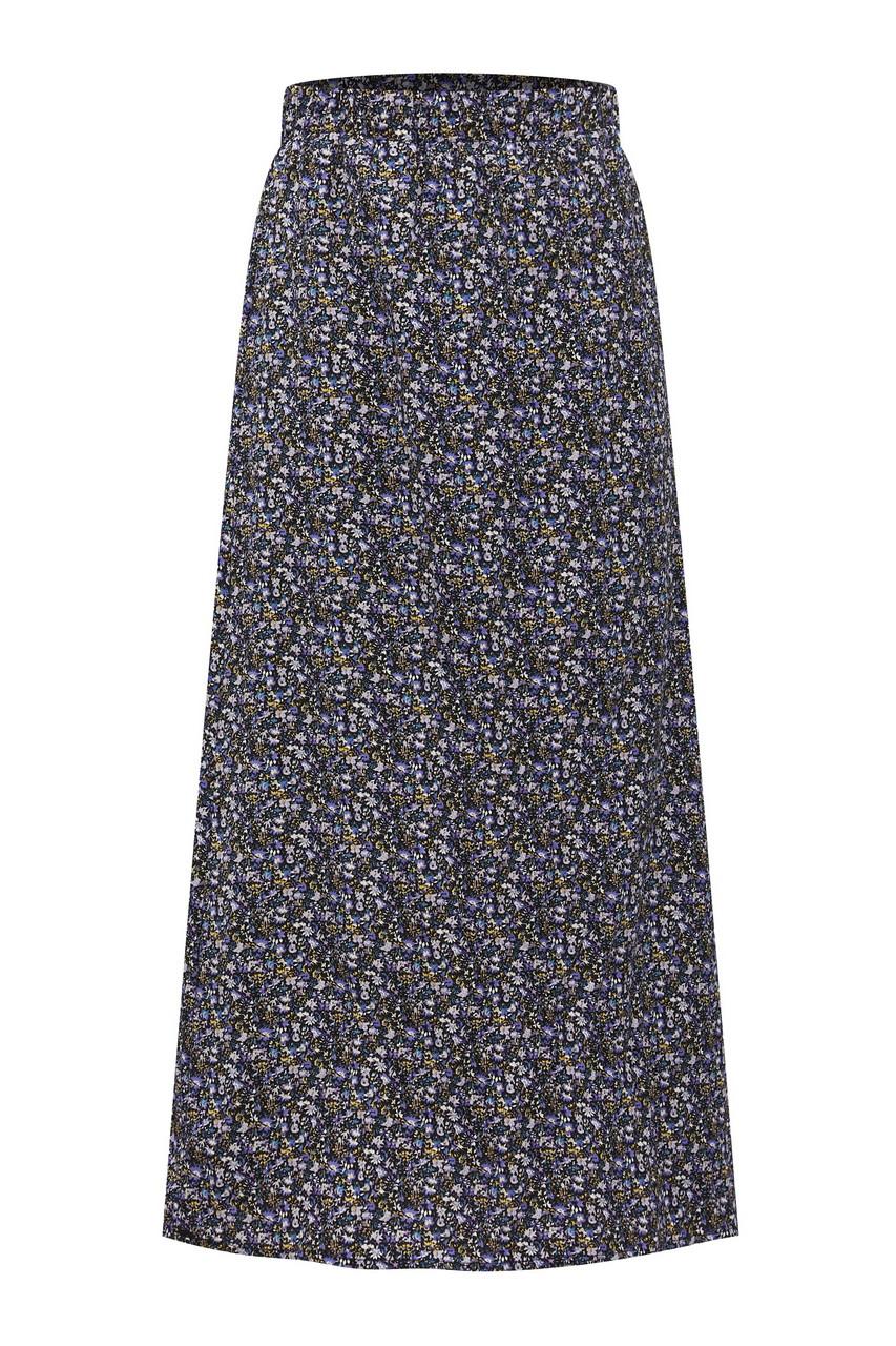Creased Fabric Print Midi Skirt