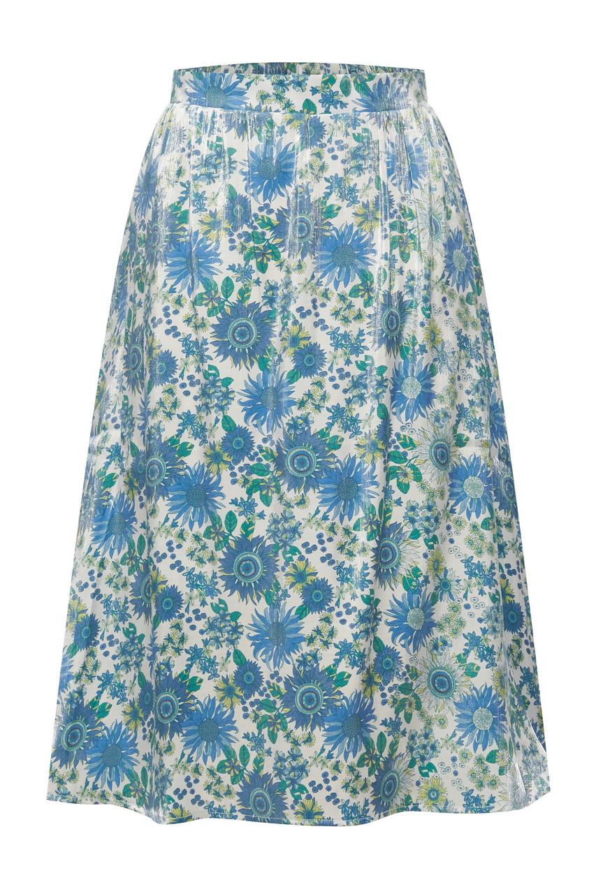 Waist Band Floral Print Midi Skirt