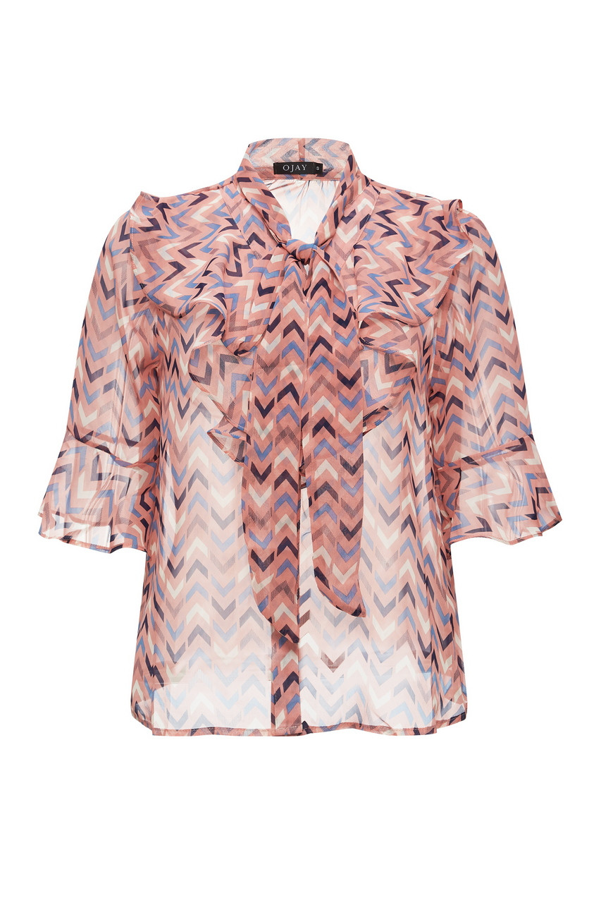 Chiffon Bow Tie Frilled Blouse