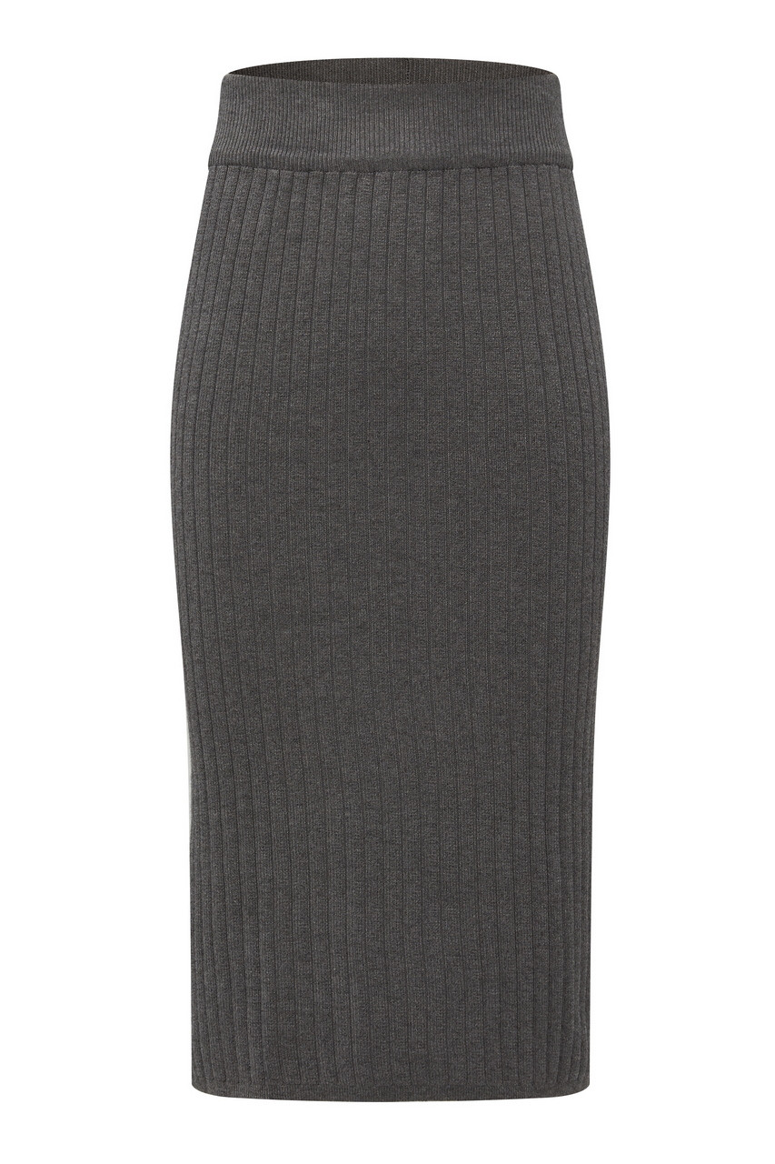 Ribbed Midi Knit Skirt