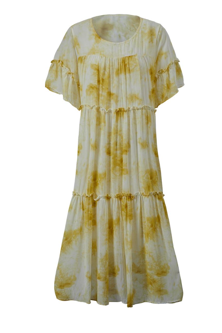 Abstract Print Tiered Midi Dress