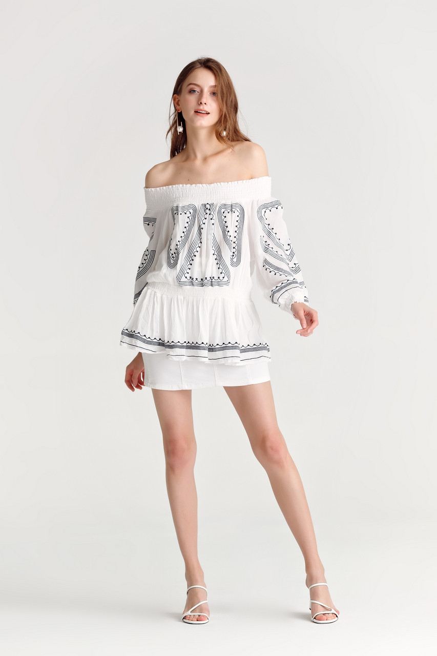 Embroidery Long Sleeve Shirred Off Shoulder Top