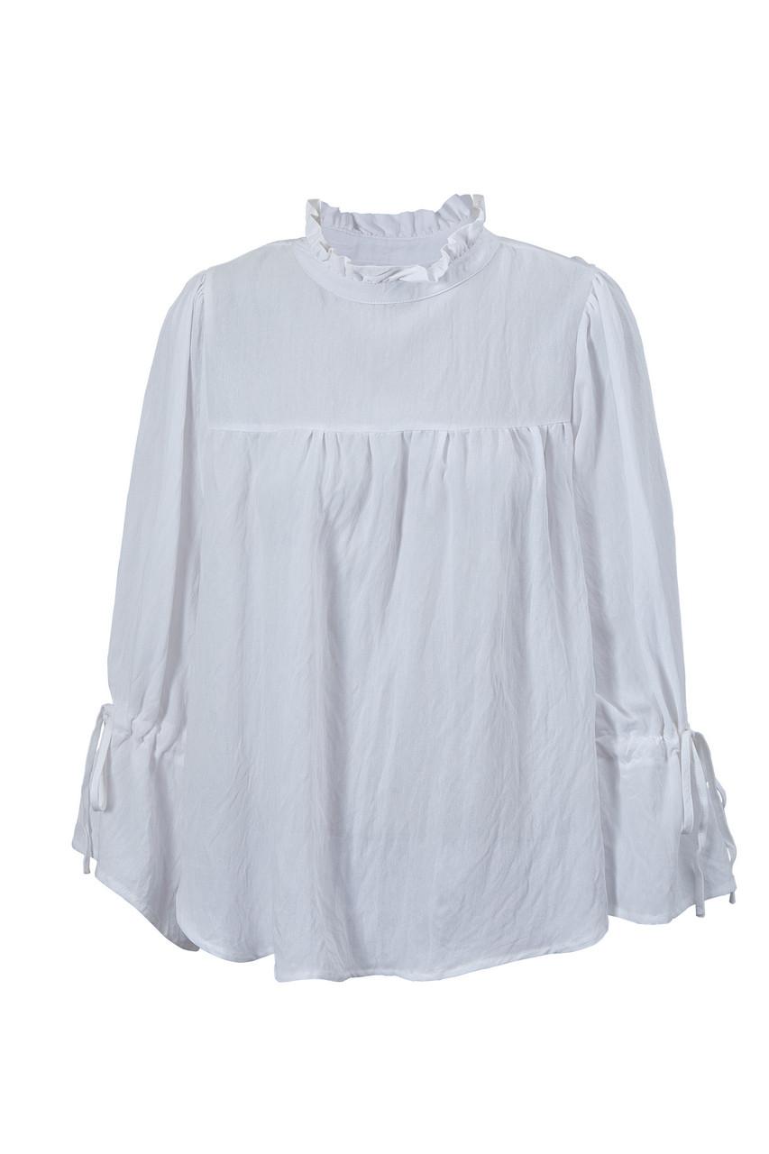 Frill Trim Neck Long Puff Tie Sleeve Linen Blouse