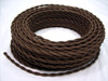Dark Brown Rayon Cloth-Covered Twisted Electrical Wire - 18 Gauge - Bulk Roll