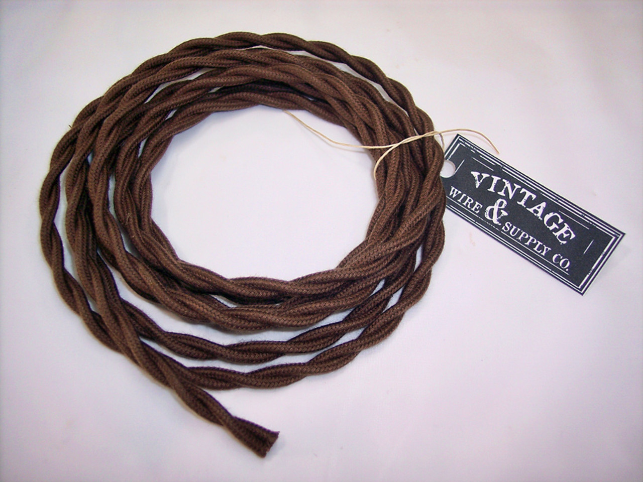 Lamp Cord Antique Fan Brown Cotton Cloth Covered Twisted Electrical Wire