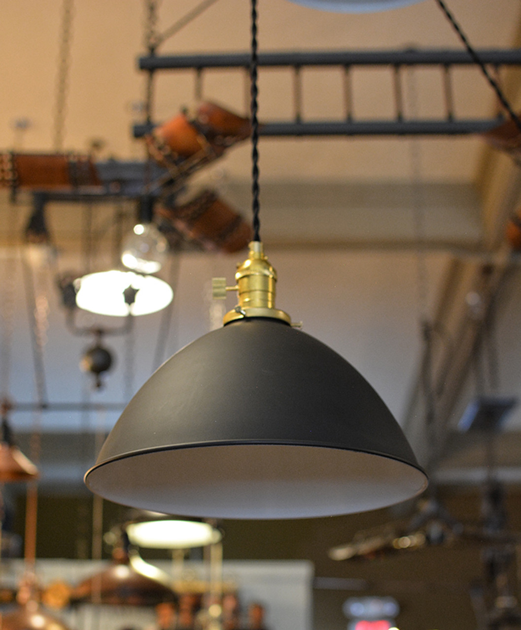 Lamps Antique Machine Age Steel Lamps: Electric Latest Collection Of Vintage Industrial Pendant Light W/ Flat Lamp Shade
